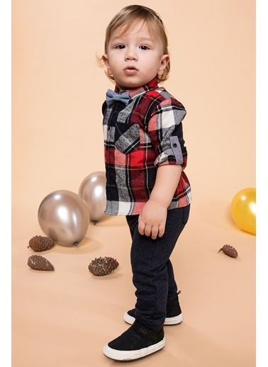 DeFacto Erkek Bebek Papyonlu Uzun Kollu Kareli Gömlek Kırmızı